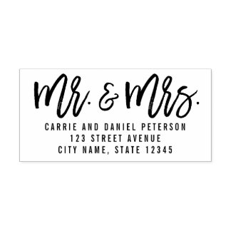 Brushed Mr and Mrs Personalized Rubber Stamp