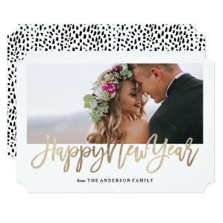 Brushed New Year Faux Gold Holiday Photo Card