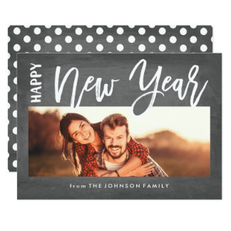 Brushed New Year Holiday Photo Card Chalkboard
