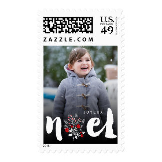 Brushed Noel Christmas Rustic Holiday Photo Stamps
