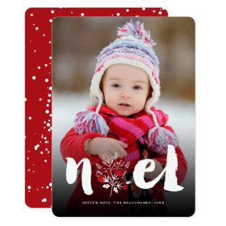 Brushed Noel Floral Rustic Christmas Photo Card