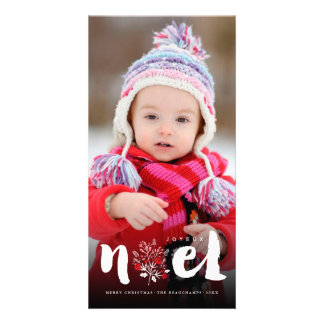 Brushed Noel Holiday Rustic Christmas Photo Card