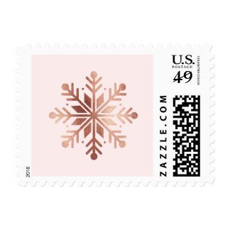 Brushed Peace Rose Gold Holiday Postage