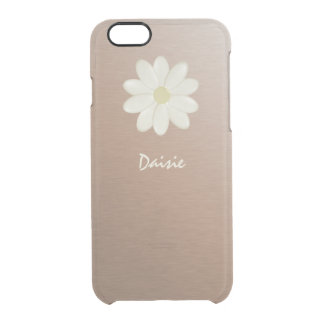 Brushed Rose Gold Gradient Daisy Personalized Clear iPhone 6/6S Case