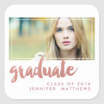 Brushed Rose Gold Photo 2016 Graduation Party Square Sticker