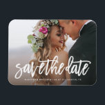 """Brushed Save the Date Magnet<br><div class=""""desc"""">Gift your guests with a Save the Date Magnet to showcase on the refrigerator leading up to your big day!    All photography is displayed as a sample only and is not for resale. This product is only intended to be purchased once sample photos are replaced with your own images.</div>"""