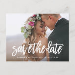 "Brushed Save the Date Postcard<br><div class=""desc"">Congratulations on your engagement! Save the Date announcements are the first big step in the wedding planning process! Remember, your save the date announcement will set the tone for your big day, be sure to impress guests with an unforgettable design and a peek into what&#39;s to come! This design features...</div>"