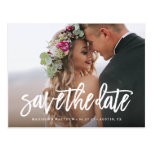 Brushed Save the Date Postcard<br><div class='desc'>Congratulations on your engagement! Save the Date announcements are the first big step in the wedding planning process! Remember, your save the date announcement will set the tone for your big day, be sure to impress guests with an unforgettable design and a peek into what&#39;s to come! This design features...</div>