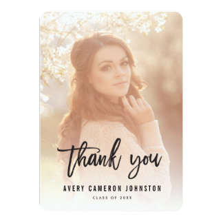 Brushed Script Graduation Photo Thank You Card