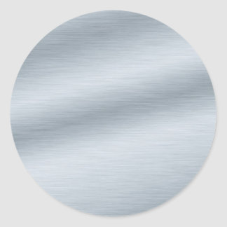 Brushed Silver Look Background Classic Round Sticker
