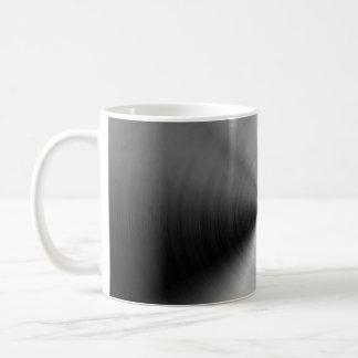 Brushed silver metal coffee mug