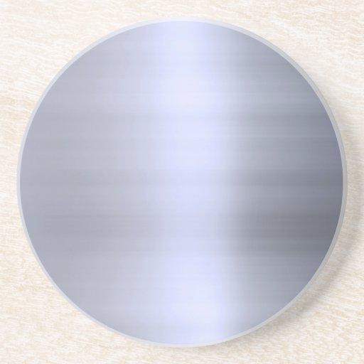 Brushed Silver Metal Textured Beverage Coaster