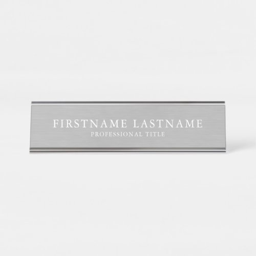 Brushed Silver Traditional Name Title Garamond Desk Name Plate