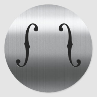 Brushed Stainless F-Holes Classic Round Sticker