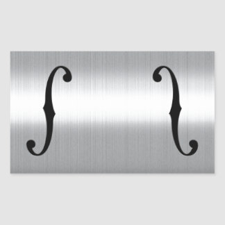 Brushed Stainless F-Holes Rectangular Sticker