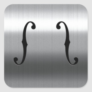 Brushed Stainless F-Holes Square Sticker