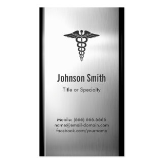 Brushed Stainless Steel Metal - Medical Symbol Business Card