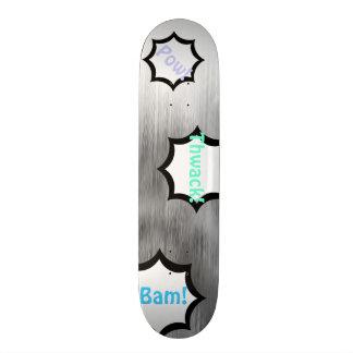 Brushed Steel Comics Look Gray White Customizable Skateboard Deck