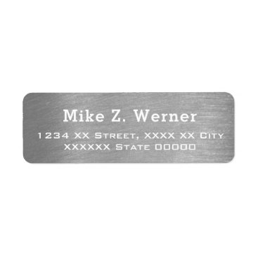 Professional Business brushed steel gray effect label