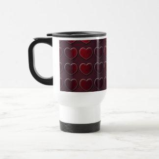 Brushed Steel Metal Embossed Ruby Red Hearts Travel Mug