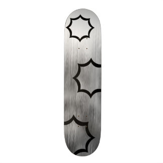 Brushed Steel Sparks Look Gray White Customizable Skateboard