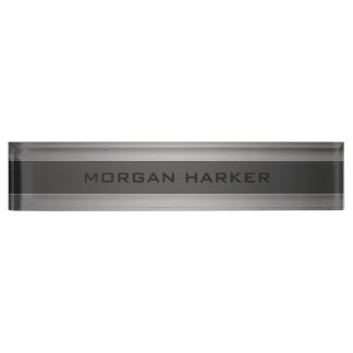Brushed Steel Two Shades Desk Nameplate