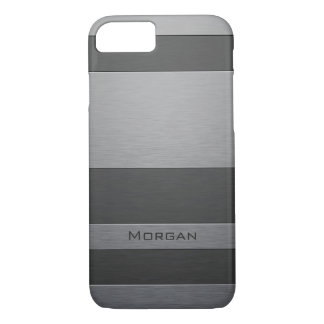 Brushed Steel Two Shades with Your Name iPhone 7 Case