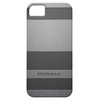 Brushed Steel Two Shades with Your Name iPhone SE/5/5s Case