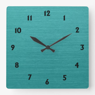 Brushed Teal Metal Look kash001 with Black Numbers Square Wall Clock