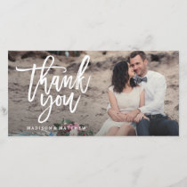 Brushed Wedding Thank You Photo Card