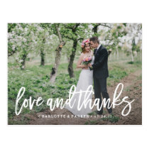 Brushed Wedding Thank You Photo Post Card