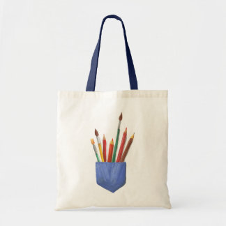 Brushes and pencils in fairy pocket bag