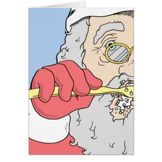 Brushing Santa Holiday Card