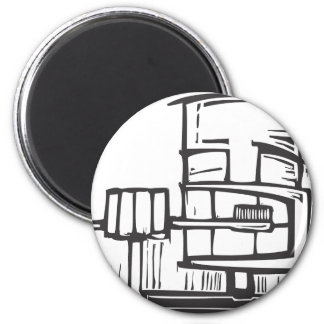 Brushing Teeth 2 Inch Round Magnet