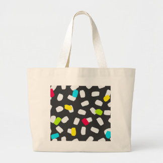 Brushstroke Brights on Grey Large Tote Bag
