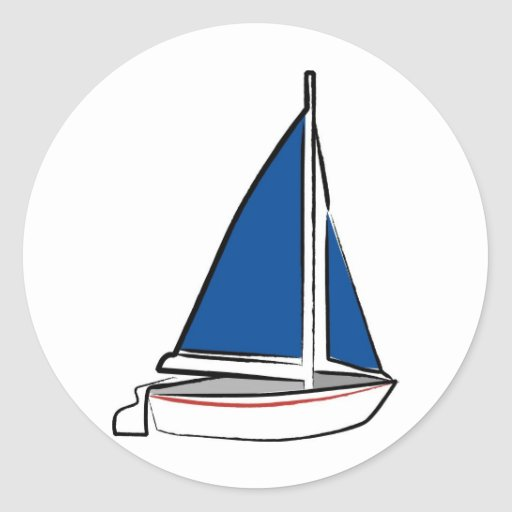 Brushstroke Ship with Blue Sail Round Stickers