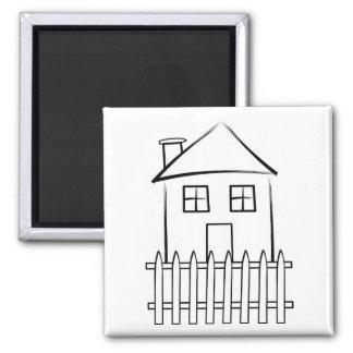Brushstroke White Picket Fence House 2 Inch Square Magnet