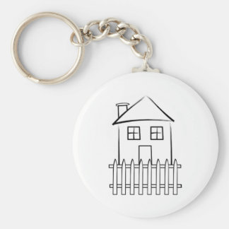 Brushstroke White Picket Fence House Keychain