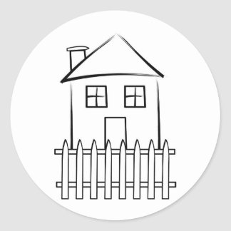 Brushstroke White Picket Fence House Round Stickers