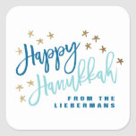 Brushy Script Hanukkah Sticker<br><div class='desc'>Shine bright this Hanukkah with these whimsical and modern sticker featuring hand lettering.</div>