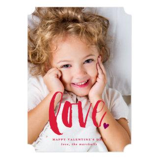 Brushy script love photo valentine's day card