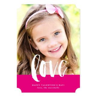 "Brushy script love photo valentine's day card 5"" x 7"" invitation card"