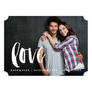 Brushy script love save the date photo card