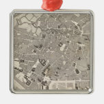 Brussels and Belgium Square Metal Christmas Ornament