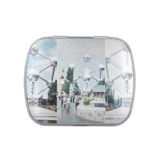 Brussels Atomium Photo Collage Jelly Belly Candy Tin