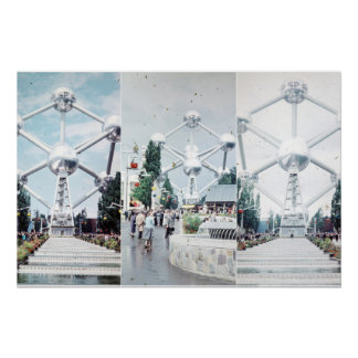 Brussels Atomium Photo Collage Poster