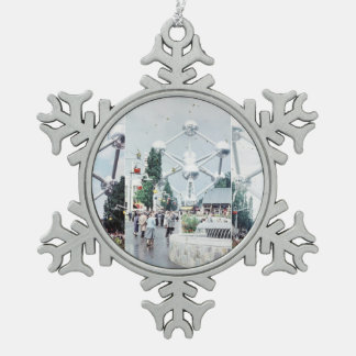 Brussels Atomium Photo Collage Snowflake Pewter Christmas Ornament