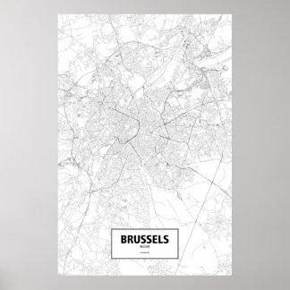 Brussels, Belgium (black on white) Poster