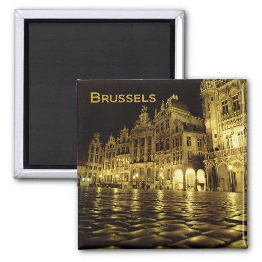 Brussels Belgium Nighttime Souvenir Fridge Magnets