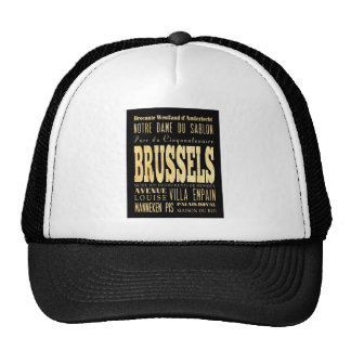 Brussels City of Belgium Typography City Art Trucker Hat